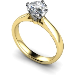 HRR526 Crown Set Round Cut Solitaire Diamond Ring - yellow