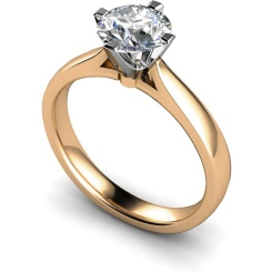 HRR526 Crown Set Round Cut Solitaire Diamond Ring - rose