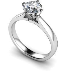 HRR526 Crown Set Round Cut Solitaire Diamond Ring - white