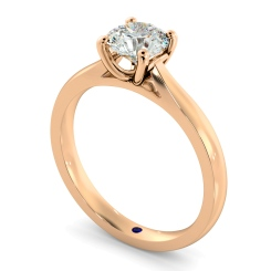 HRR544 Round Solitaire Diamond Ring - rose