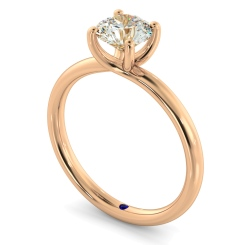 HRR556 Crossover Set Round cut Solitaire Diamond Ring - rose
