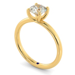 HRR556 Crossover Set Round cut Solitaire Diamond Ring - yellow