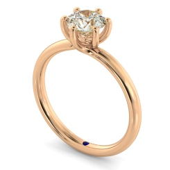 HRR578 Crossover Style Round cut Solitaire Diamond Ring - rose