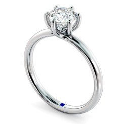 HRR578 Crossover Style Round cut Solitaire Diamond Ring - white