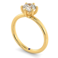 HRR578 Crossover Style Round cut Solitaire Diamond Ring - yellow