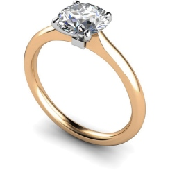 HRR591 Round Solitaire Diamond Ring - rose