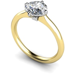 HRR593 4 Claw Round cut Solitaire Diamond Ring - yellow