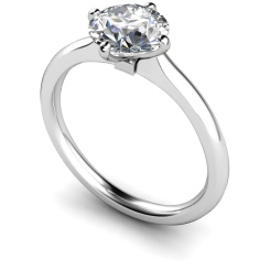HRR593 4 Claw Round cut Solitaire Diamond Ring - white