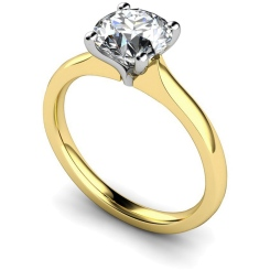 HRR596 Tapered Setting Round cut Solitaire Diamond Ring - yellow