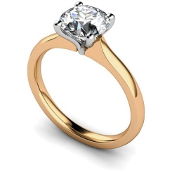 HRR596 Tapered Setting Round cut Solitaire Diamond Ring - rose