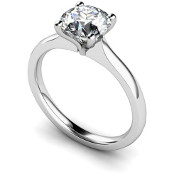 HRR596 Tapered Setting Round cut Solitaire Diamond Ring - white