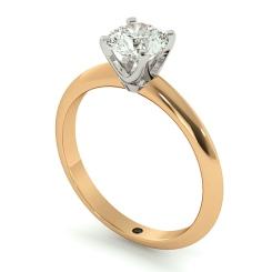 HRR729 Round cut Classic Knife Edge Diamond Engagement Ring - rose