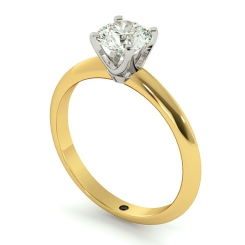 HRR729 Round cut Classic Knife Edge Diamond Engagement Ring - yellow
