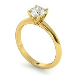 HRR729 Round cut Classic Knife Edge Diamond Engagement Ring - yellow