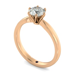 HRR791 Round cut 6 Claw Pinched Edge Diamond Engagement Ring - rose