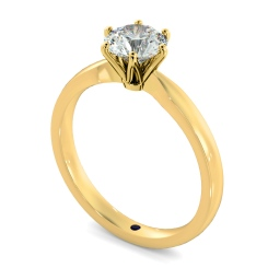 HRR791 Round cut 6 Claw Pinched Edge Diamond Engagement Ring - yellow