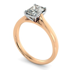 HRRA1143 Radiant Solitaire Diamond Ring - rose