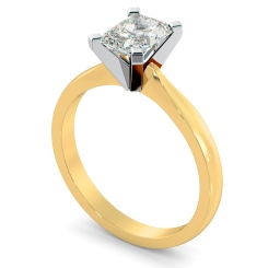 HRRA1145 4 Claw Radiant Solitaire Diamond Ring - yellow