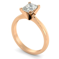 HRRA1145 4 Claw Radiant Solitaire Diamond Ring - rose