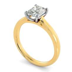 HRRA1147 Classic Four Claw Radiant Solitaire Diamond Ring - yellow