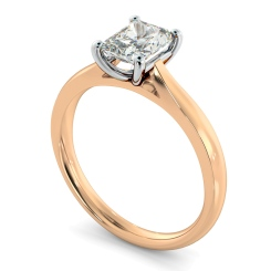 HRRA1147 Classic Four Claw Radiant Solitaire Diamond Ring - rose