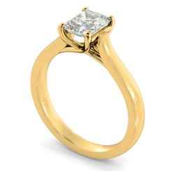 HRRA1151 4 Prong Radiant cut Solitaire Diamond Ring - yellow
