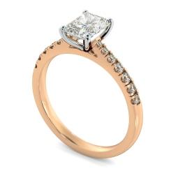 HRRASD1159 Radiant Shoulder Diamond Ring - rose