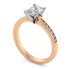 HRRASD1161 Radiant Shoulder Diamond Ring - rose