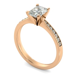 HRRASD1161 Radiant Shoulder Diamond Ring - rose