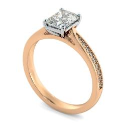HRRASD1163 Radiant Shoulder Diamond Ring - rose