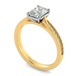 HRRASD1163 Radiant Shoulder Diamond Ring - yellow