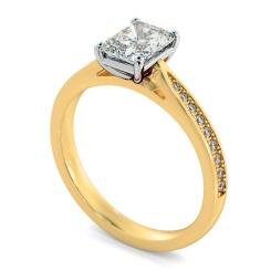 HRRASD1163 Radiant Shoulder Diamond Ring - yellow
