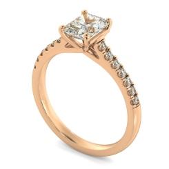 HRRASD1165 Radiant Shoulder Diamond Ring - rose