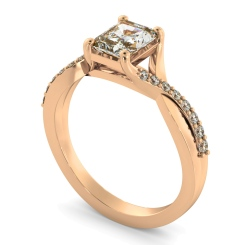 HRRASD1167 Radiant Shoulder Diamond Ring - rose