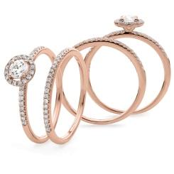 HRRBS888 Round cut Halo Bridal Diamond Rings Set - rose