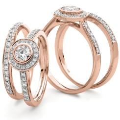 HRRBS889 Round cut Pave set Bridal Diamond Rings Set - rose
