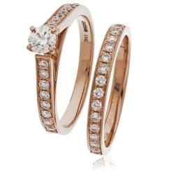 HRRBS891 High set Round cut Diamond Bridal Set Rings - rose