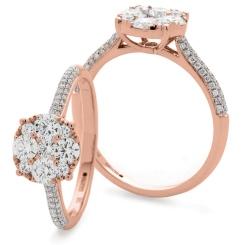 HRRCL915 Triple Shoulder Line Round cut Diamond Cluster Ring - rose