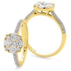 HRRCL915 Triple Shoulder Line Round cut Diamond Cluster Ring - yellow