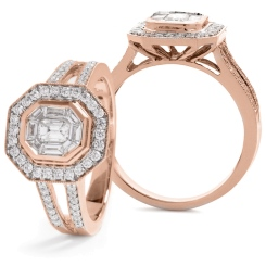 HRRCL917 Split Shank Octa Shaped Round cut Halo Cluster Diamond Ring - rose