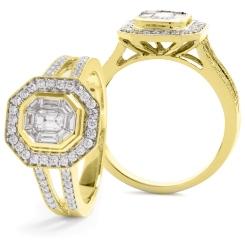 HRRCL917 Split Shank Octa Shaped Round cut Halo Cluster Diamond Ring - yellow