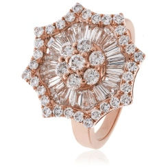 HRRCL918 Round cut Star Shaped Halo Cluster Diamond Ring - rose