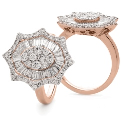 HRRCL928 Radiant cut Oval Star Shaped Halo Cluster Diamond Ring - rose