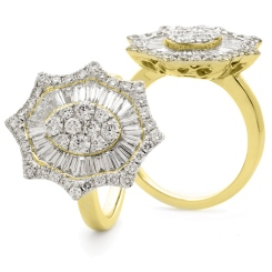 HRRCL928 Radiant cut Oval Star Shaped Halo Cluster Diamond Ring - yellow