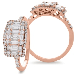 HRRCL929 Round & Baguette 3 Stone Effect Halo Cluster Diamond Ring - rose