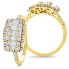 HRRCL929 Round & Baguette 3 Stone Effect Halo Cluster Diamond Ring - yellow