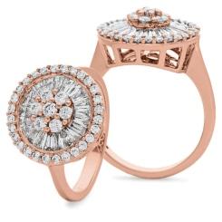 HRRCL930 Round &  Baguette Circular Halo Cluster Diamond Ring - rose