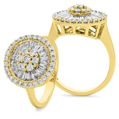 HRRCL930 Round &  Baguette Circular Halo Cluster Diamond Ring - yellow