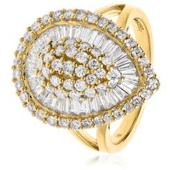 HRRCL931 Round &  Baguette Pear Shaped Halo Cluster Diamond Ring - yellow