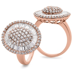 HRRCL932 Round &  Baguette Oval Shaped Halo Cluster Diamond Ring - rose